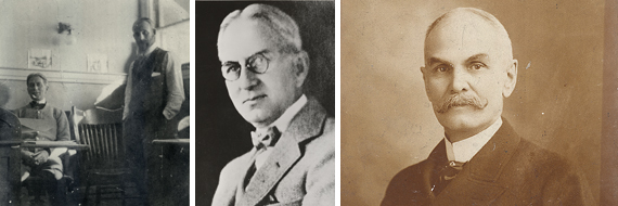 Left: David Dunbar Buick with Walter Marr, who would work for Buick three times throughout the company's tumultuous and laborious rise to fame. Right: James H. Whiting, president of the Flint Wagon Works, was responsible for bringing Buick Motor Company to Flint in 1903.