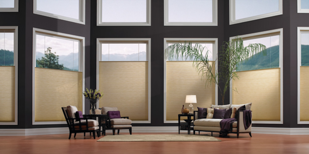 Big windows beautiful window treatments blindsgalore blog for Roman blinds for large windows