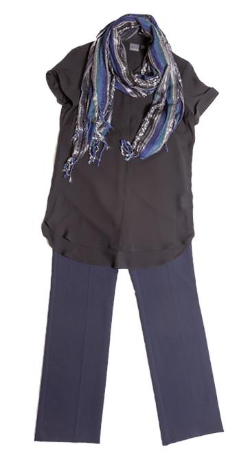 Top: Covington, Sears – $40 Pants: Covington, Sears – $42 Scarf: Studio S, Sears – $7