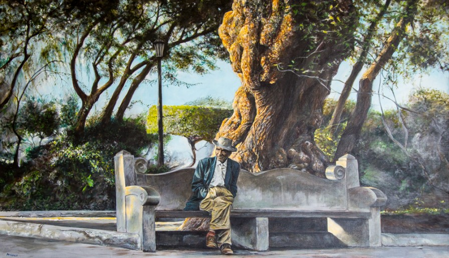Oil on Canvas, Harry McCormick, Man on a Park Bench, 20th century