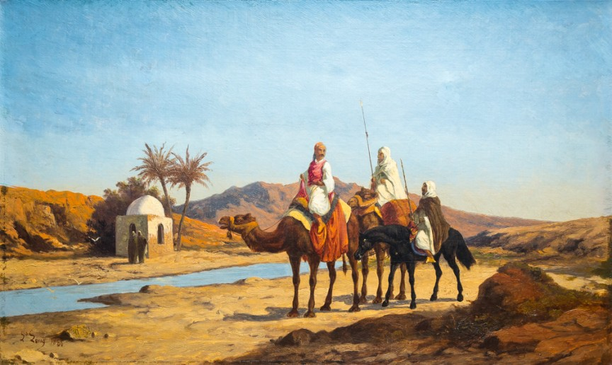 Oil on Canvas, Desert Scene, 19th Century