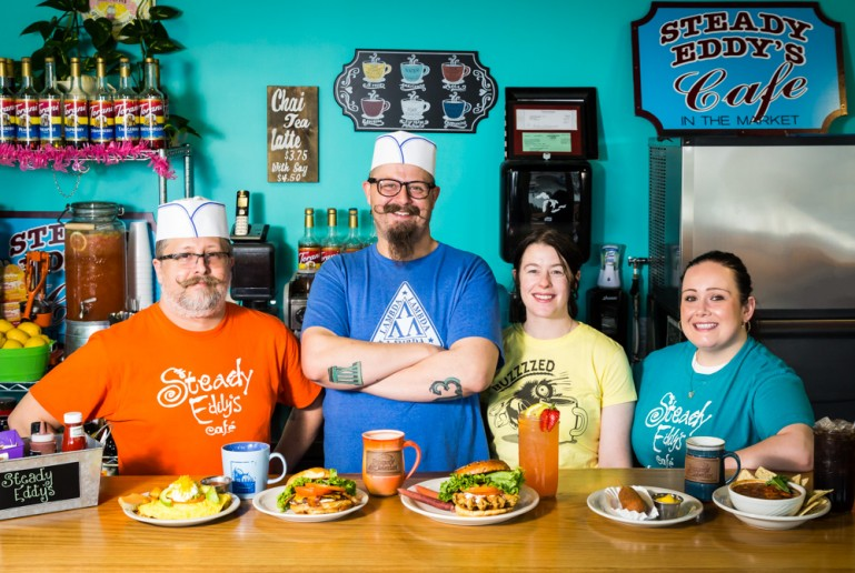 (L-R) Serving up fresh fare with a smile are co-owner Chris Veihl, Matt Veihl, co-owner Nichol Albiar & Stephanie Bills.