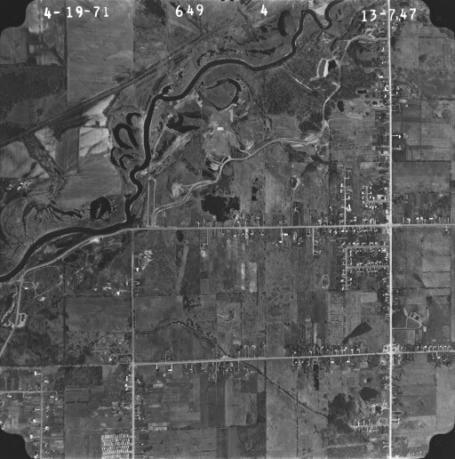 Ariel view of the Flint River in the area that became Mott Lake