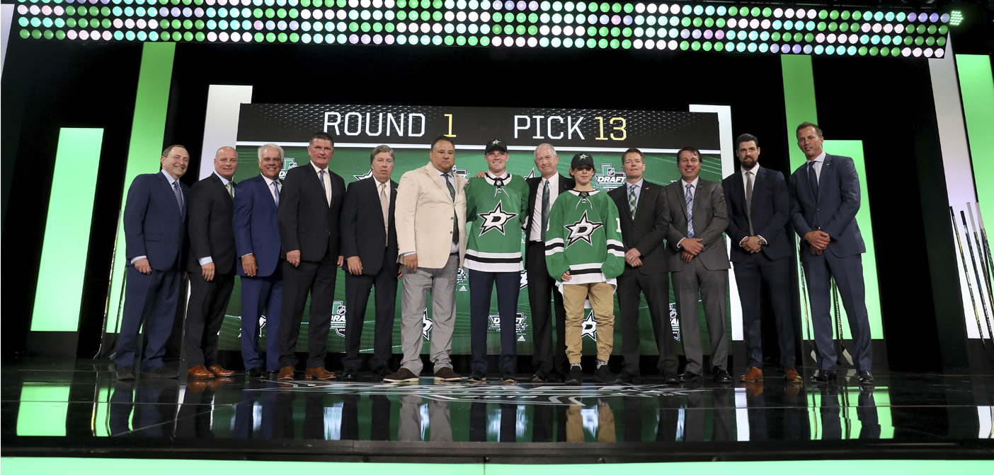 Ty Dellandrea was selected in the first round (13th overall) of the NHL draft by the Dallas Stars.