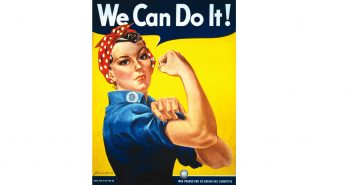 """We Can Do It!"" poster for Westinghouse, closely associated with Rosie the Riveter, although not a depiction of the cultural icon itself. Model may be Geraldine Doyle (1924-2010) or Naomi Parker (1921-2018)."